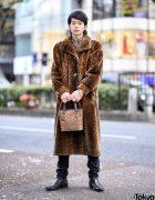 Layered Vintage Leopard Print, Lad Musician Skinny Jeans, Sergio Rossi Boots & Roberta di Camerino Bag in Harajuku