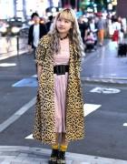 Blonde Harajuku Girl w/ Long Leopard Coat & Nincompoop Capacity Bag