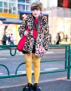 Leopard Print Coat, Faux Fur Hat, Never Mind the XU Shoes & Moschino Barbie in Harajuku