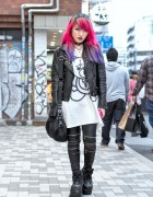 Pink Purple Dip Dye, Leather Jacket, Zipper Pants & Demonia in Harajuku