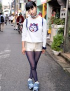 Lisa Frank Dog Sweatshirt, Short Shorts & Velcro Sneakers From Funktique Harajuku