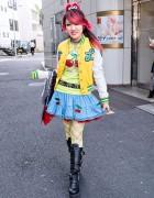 Lisa's Pink Hair, Cherry-Skull Skirt & Buckle Boots in Harajuku