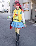 Lisa's Pink Hair, Cherry-Skull Skirt & Buckle Boots in Harajuku