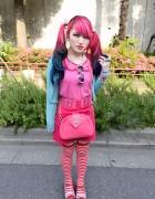 Lisa 13 in Harajuku w/ Dip Dye Hair, Cute Pink Fashion & Vivienne Westwood