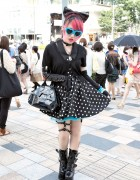 Lisa13 in Harajuku w/ Pink Hair, Polka Dots, Safety Pins & Demonia