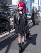 Dip Dye Hair, Biker Jacket, Spiked Garter & Demonia Boots in Harajuku