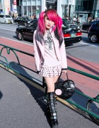 Moth in Lilac Guitarist in Harajuku w/ Demonia Boots, Dip Dye & Black Heart Bag