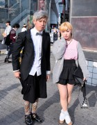 Stylish Shibuya Pair's LOVE/HATE Creepers, Tiered Skirt & Leopard Print
