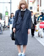 Harajuku Girl w/ Blonde Bob, Maxi Coat, Galaxy Print & Ribbon Laces