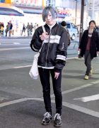 Harajuku Guy Wearing Japanese Streetwear Brand MYOB NYC Bomber & Bag w/ Dr. Martens Boots