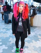 Maimai's Neon Hair, Glay Hoodie & Colorful Sneakers in Harajuku