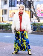 Harajuku Guy in Maison Margiela Faux Fur Coat, MSGM Pleated Skirt & Roberto Cavalli Snake Necklace