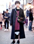 Harajuku Girl w/ Short Hairstyle in Maxi Coat, Reebok Pump Sneakers & Ferragamo Purse