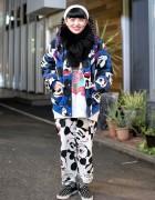 Mickey Mouse Bomber Jacket, Pajama Pants & Purple Twin Braids in Harajuku