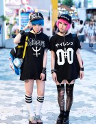 Miho & Maho w/ Pink & Blue Hair, Nikki Lipstick, Revolution Tomorrow & Pokemon in Harajuku