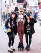 Miho & Maho & Pink Haired Friend on Shibuya Center Gai
