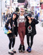 Miho & Maho & Pink Haired Friend on Shibuya Center Gai