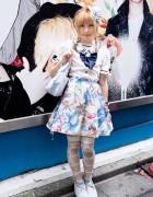 Pretty Mermaid Skirt, Kawaii Bunny Hat & Ribbon Tights in Harajuku