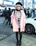Pastel Hair, Pink Shearling Coat, Pom Pom Earrings & Milkboy Donuts in Harajuku