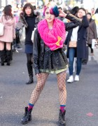 Rikarin in Harajuku w/ Colorful Hair, Leather Jacket, 6%DOKIDOKI & Milklim