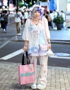 Cat Ears, Cinnamoroll & Sheer Pastel Fashion by Milklim, Listen Flavor & Sakura1Tama in Harajuku