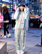 Milklim Sweatshirt, Menhera-chan Backpack, Pajama Pants & Wings in Harajuku