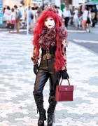 Shironuri Minori w/ Long Red Hair, Corset & Platform Boots in Harajuku