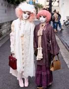 Shironuri Artist Minori & Her Pink-Haired Shironuri Friend in Harajuku