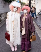Shironuri Artist Minori & Her Pink-Haired Shironuri Friend in Harajuku