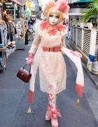 Shironuri Artist Minori's Pink Chiffon, Lace & Flowers in Harajuku