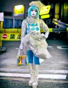 Shironuri Minori on the Street in Shibuya at Night Wearing Aqua & Silver
