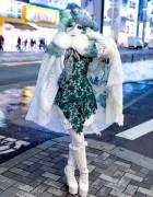 Japanese Shironuri Artist Minori in the Snow in Harajuku