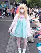 Moco w/ Kawaii Fairy Kei Fashion at Yoyogi Flea Market, Harajuku