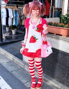 Moco in Harajuku w/ Super Cute Strawberry-themed Style + My Melody