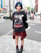 Harajuku Rock Style w/ Blue Hair, Plaid Skirt & UMEZZ Tote Bag