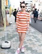Triple Bun Hairstyle, Striped Dress & Platform Sneakers in Harajuku