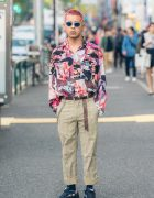 Pink Haired Harajuku Guy in Vintage Print Shirt, Raf Simons Sneakers & Faith Tokyo