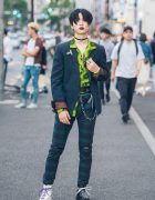 Plaid Undercover Suit, Mismatched Dr. Martens Boots & Vivienne Westwood Armor Ring in Harajuku