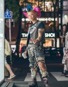 Harajuku Street Punk w/ Trihawk Hair in Who Killed Spikey Jacket? Tee, Levi's & Solovair Boots