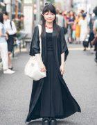 Harajuku Girl in Long Black Dragon Coat w/ Hoyajuku, Mikansei, Yosuke & UNIQLO
