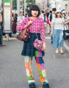 Harajuku Girl in Colorful Mixed Prints Fashion w/ Kinji & Pin Nap Vintage