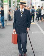 Dapper Retro Menswear Street Style in Harajuku w/ Comme des Garcons Coat & Vintage Shoes