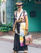 Japanese Steampunk Street Fashion w/ Embroidered Kimono, Geta Sandals & Handmade Items