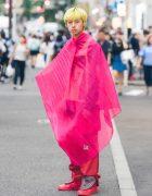 Handmade Harajuku Street Style Featuring Pink Pleated Cocoon Cape