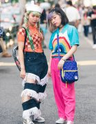Harajuku Girls in Colorful Street Fashion & Alien Bag w/ Romantic Standard, Kiki, Kinji & San-biki no Koneko