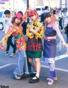 Harajuku Girls in Colorful Vintage Mixed Prints & Layered Fashion w/ Big Time, Petit Cochon, Tokyo Bopper & DaiDai