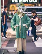 Japanese Shironuri Artist Minori in Harajuku w/ Green Vintage & Handmade Fashion
