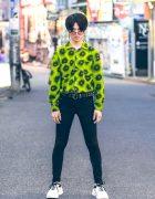 Harajuku Male Model in Vintage Print Shirt w/ Diesel, Prada, YSL & Vivienne Westwood