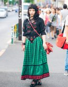 Harajuku Girl in Embroidered Top & Vintage Skirt w/ Grapefruit Moon, Dangerous Nude & Ayacho