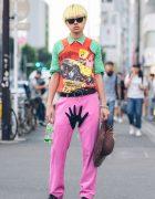 Yellow-Haired Harajuku Guy in Colorful Vintage Streetwear w/ Yoko Ono & Ray-Ban